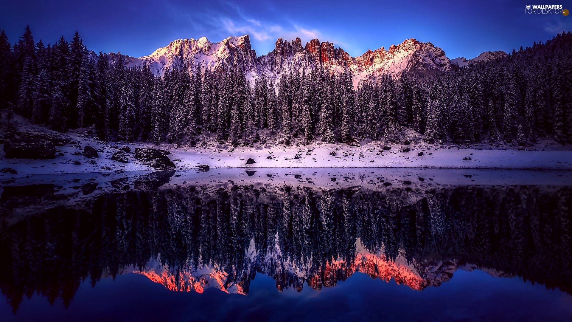 Province of Bolzano, Italy, Karersee Lake, Dolomites Mountains, reflection, snow, viewes, forest, trees