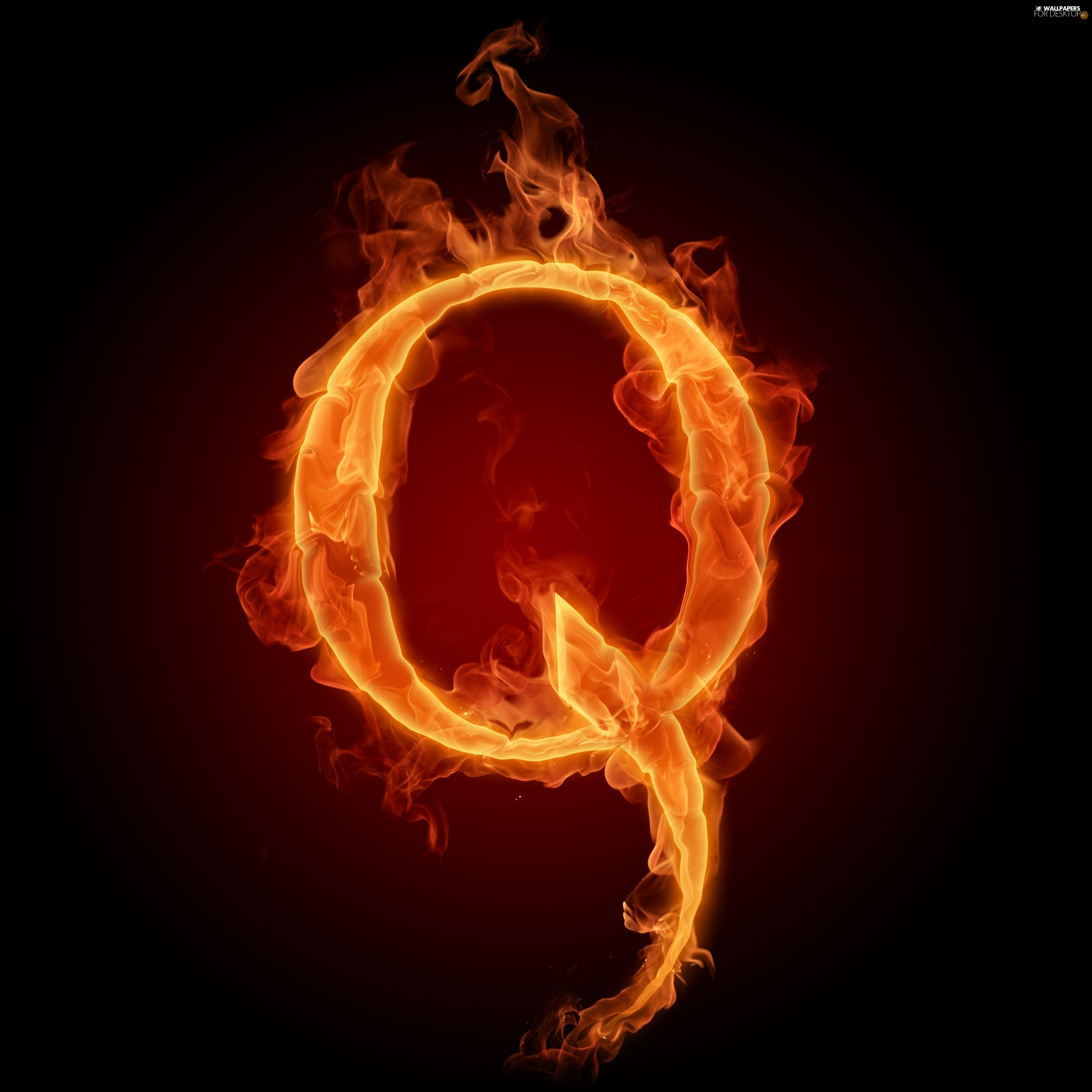 Q, Fire, letter - For desktop wallpapers: 3000x3000