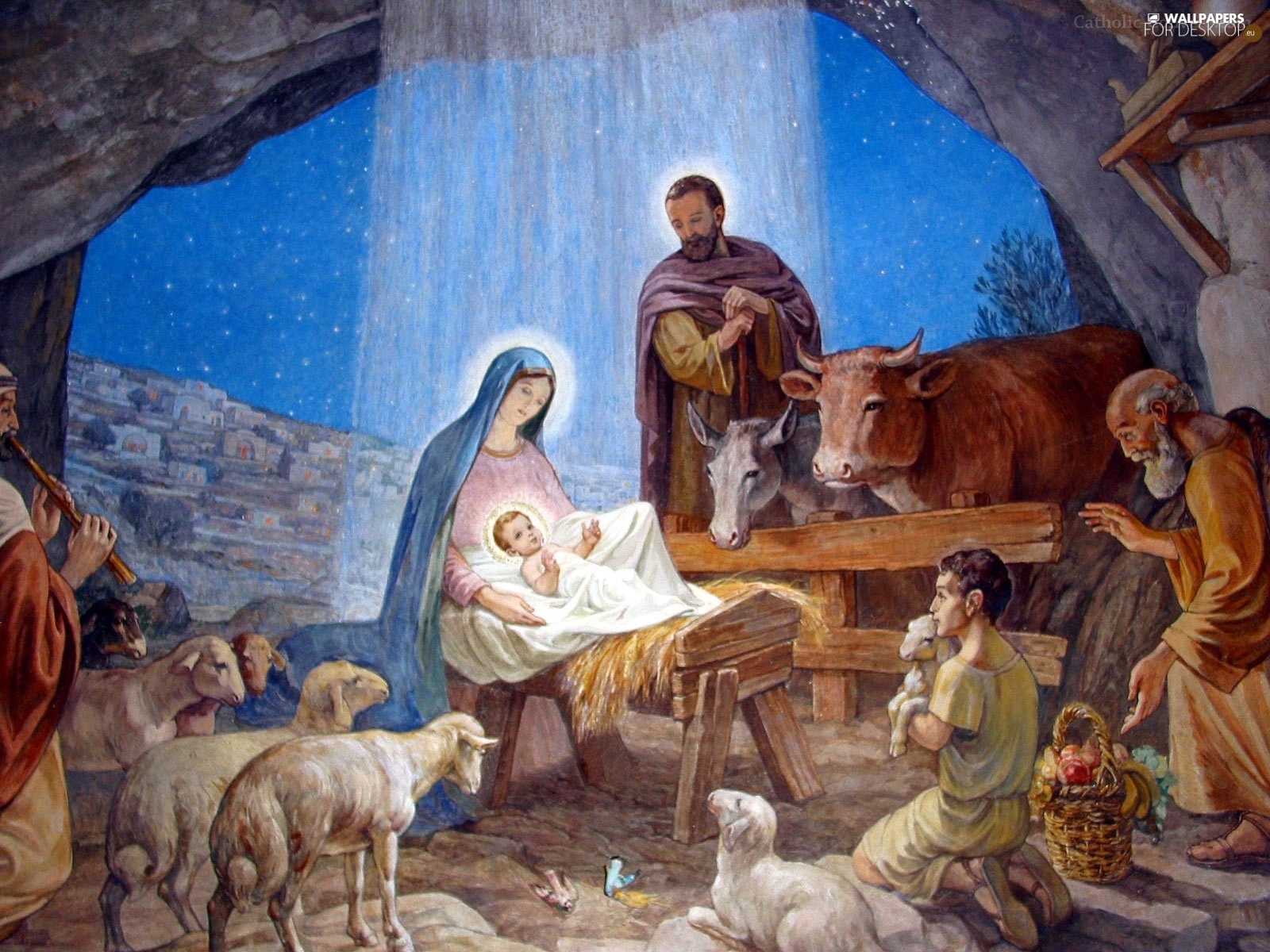 Stable Jesus Mary Joseph  For desktop wallpapers 1600x1200