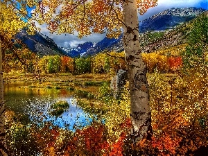 autumn, Mountains, lake