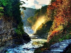 rocks, River, autumn, waterfall