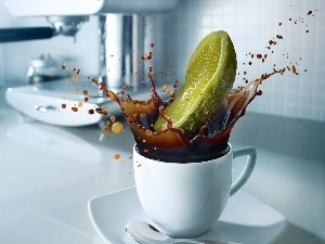 cucumber, cup, coffee
