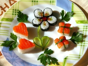 dish, color, Sushi