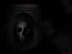 gate, fear, Portal, dark, Gate, Black, skull, Fog