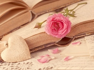 flakes, rose, Books, Heart