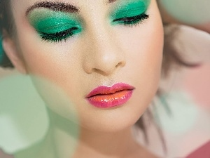make-up, Women, Green