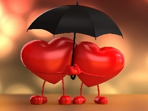 Umbrella, heart, Valentine