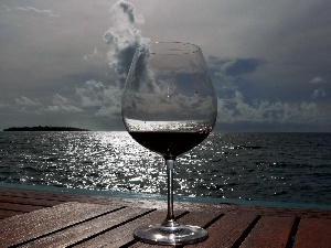 wine glass, Wines, sea, pier, cloudy