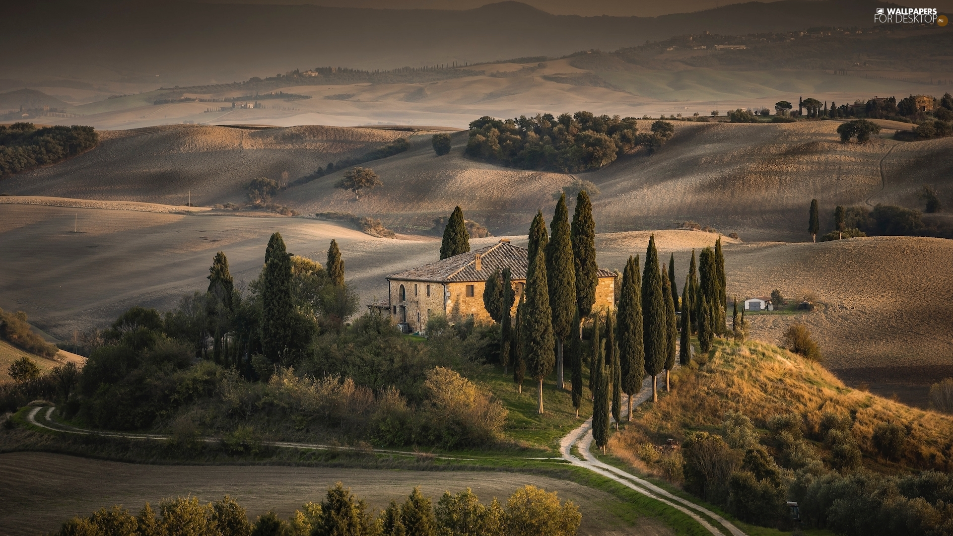 Way, Tuscany, cypresses, The Hills, Italy, house, autumn