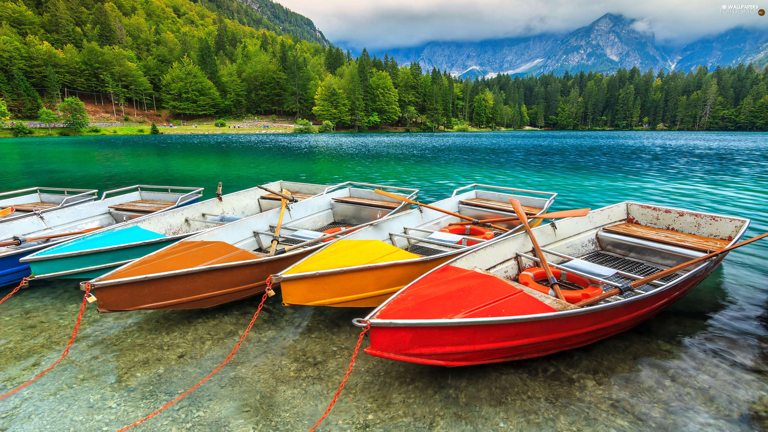 Alps, Fusine Lake, color, Mountains, Italy, woods, boats