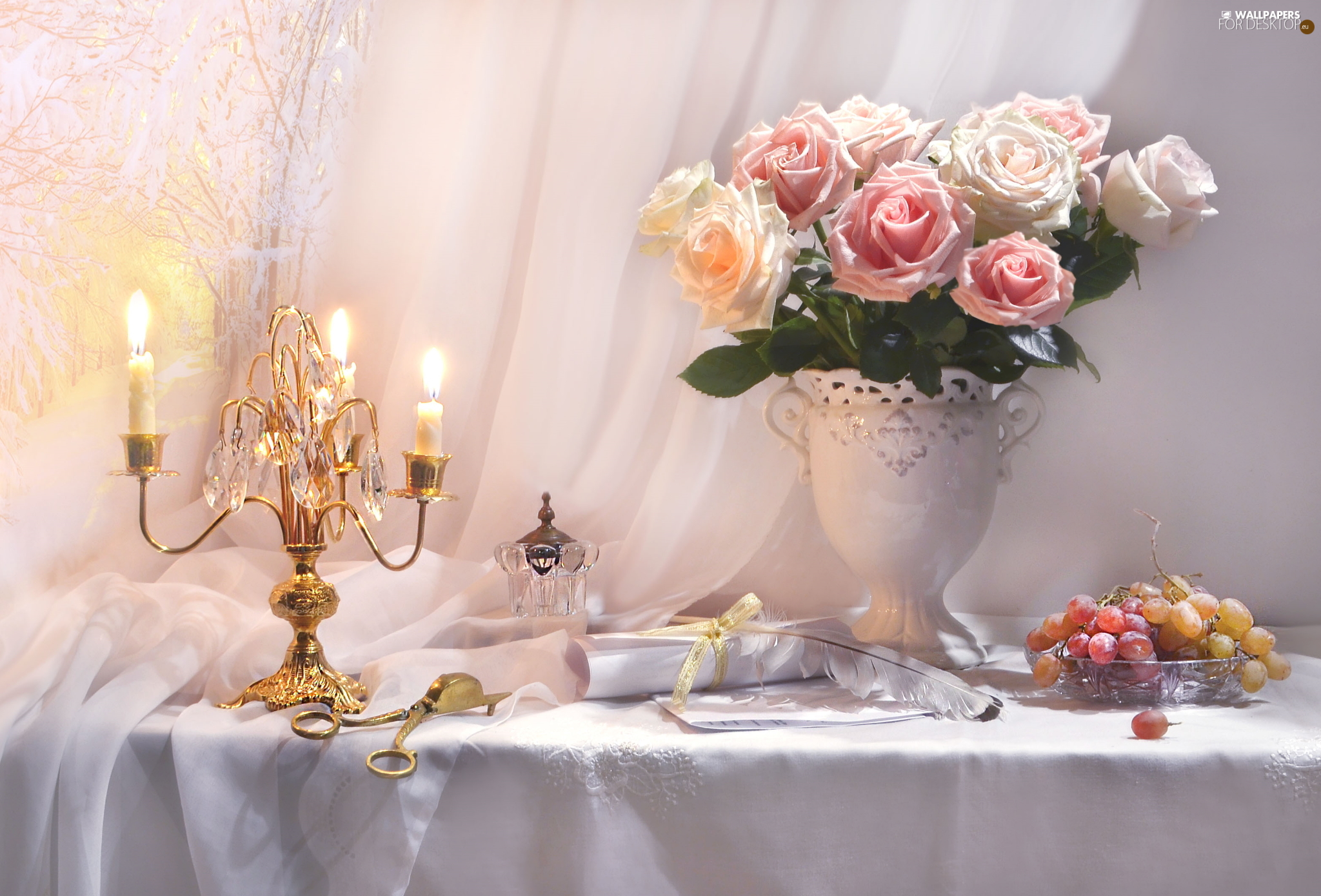 roses, Vase, Candles, bouquet, composition, candlestick, Grapes