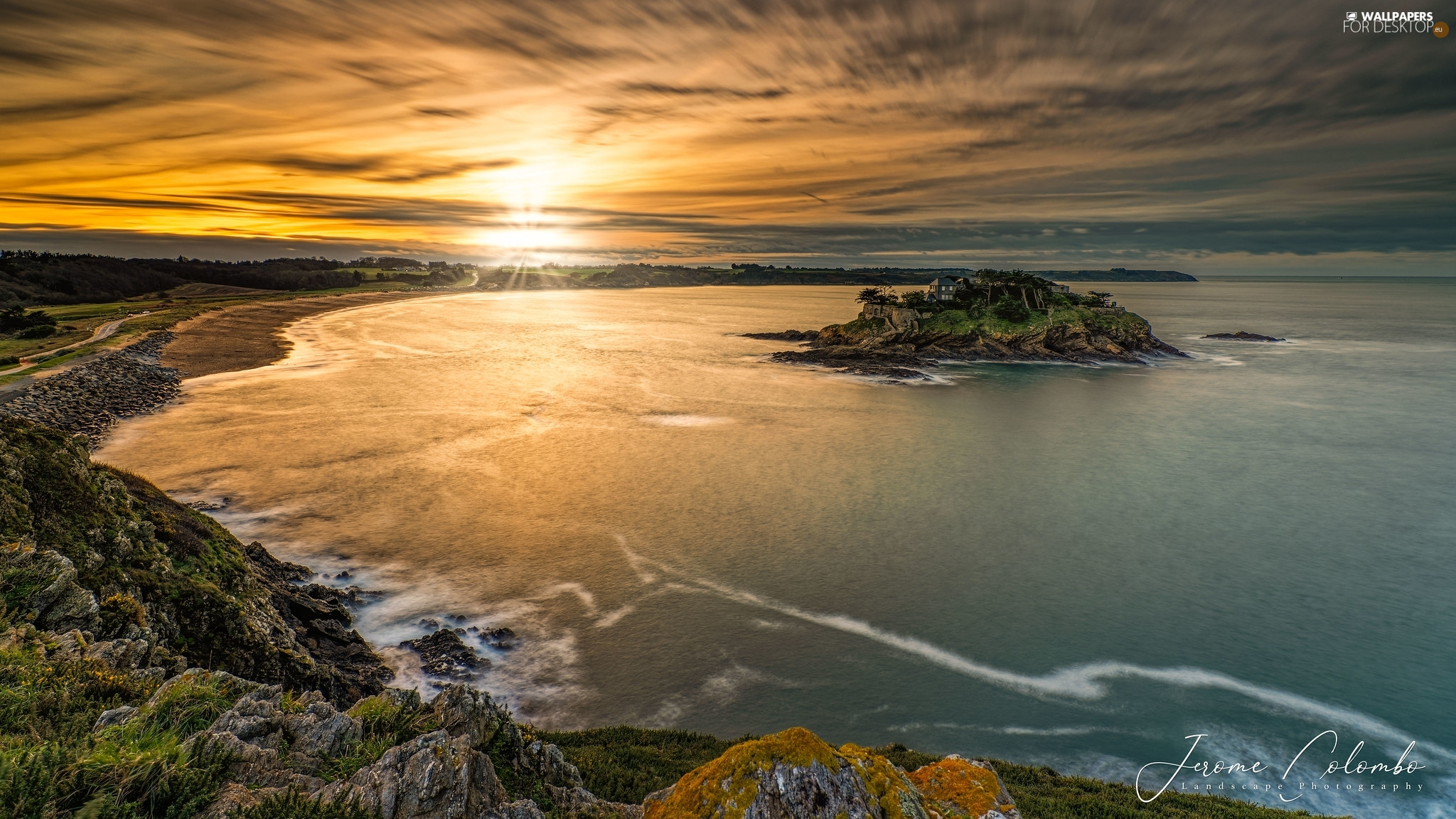 Coast, Great Sunsets, Brittany, France, Islet, sea