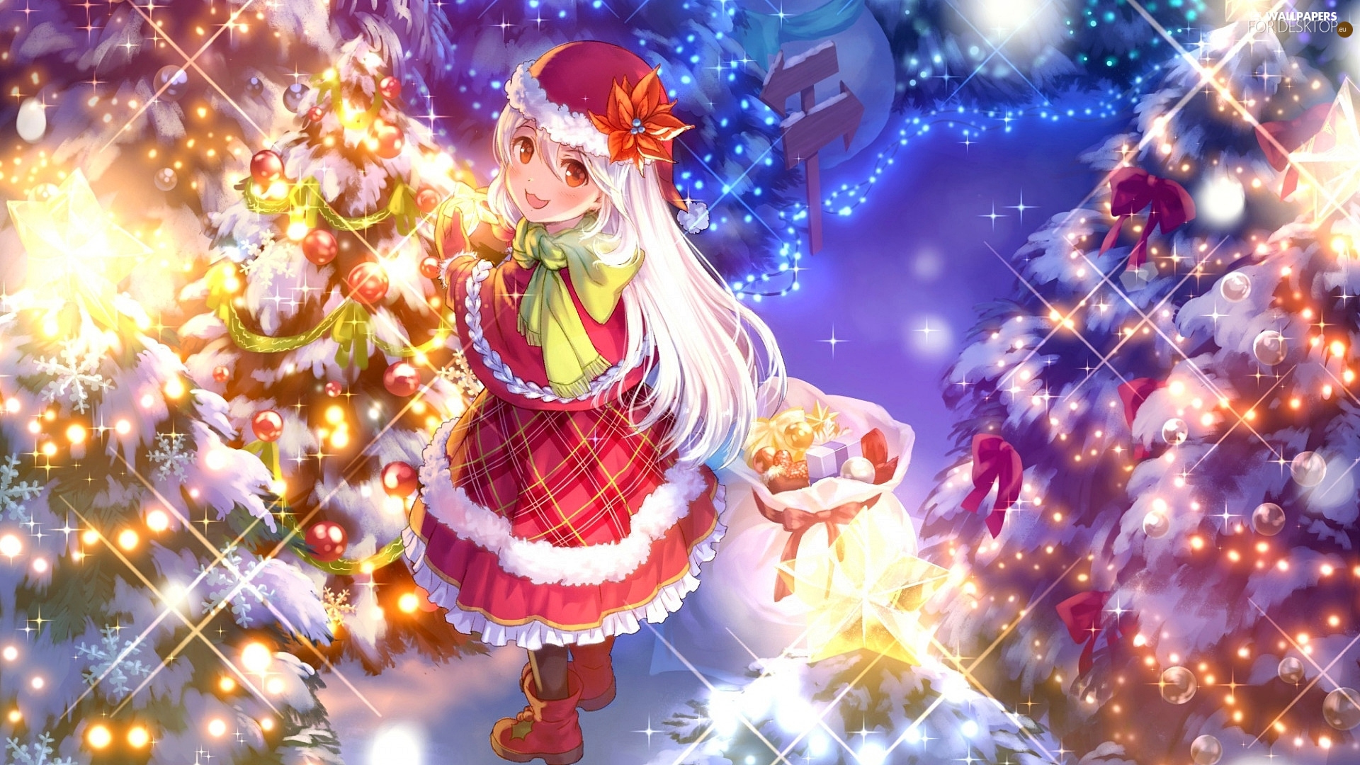 lights, girl, gifts, Christmas, bag, Christmas