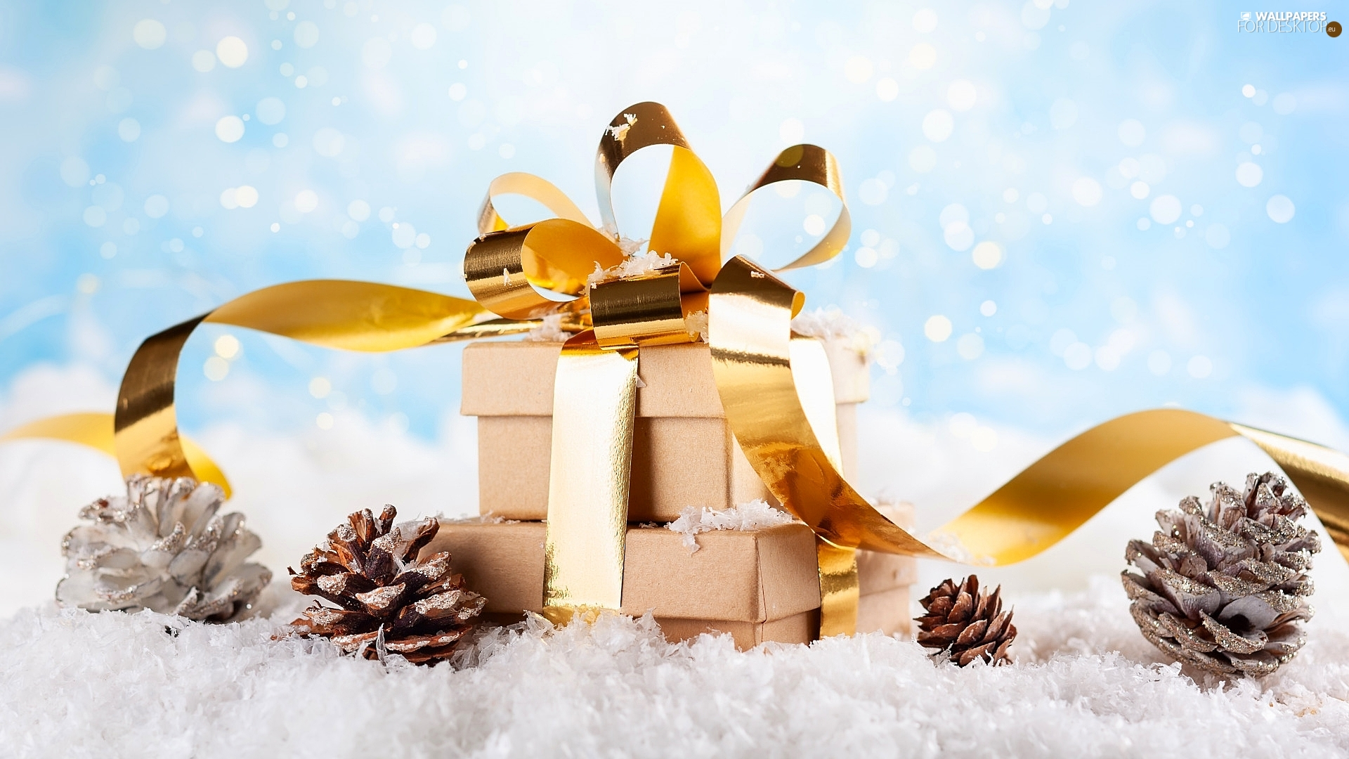 ribbon, gifts, snow, Christmas, cones, Golden automobile