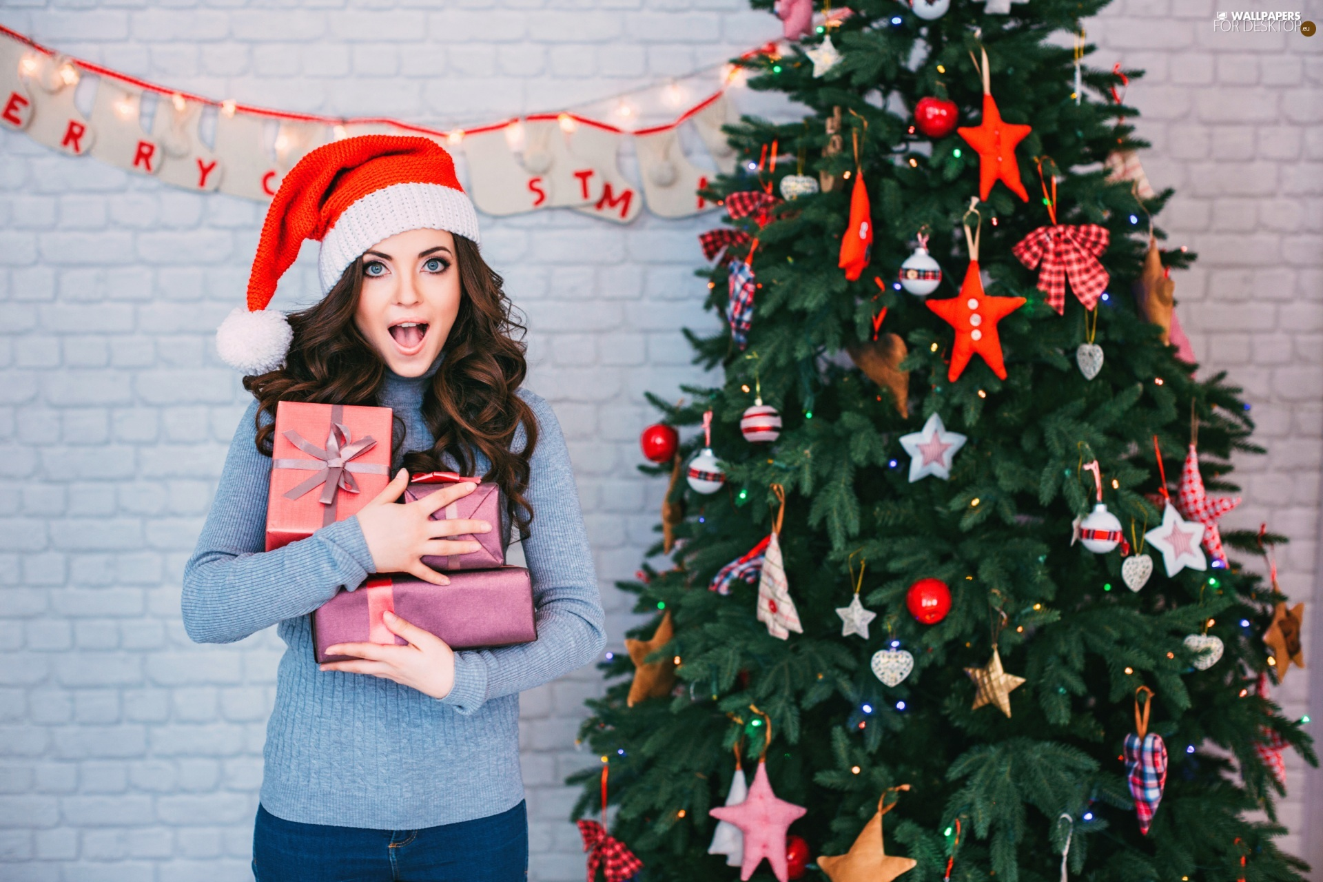 Christmas, christmas tree, gifts, Women