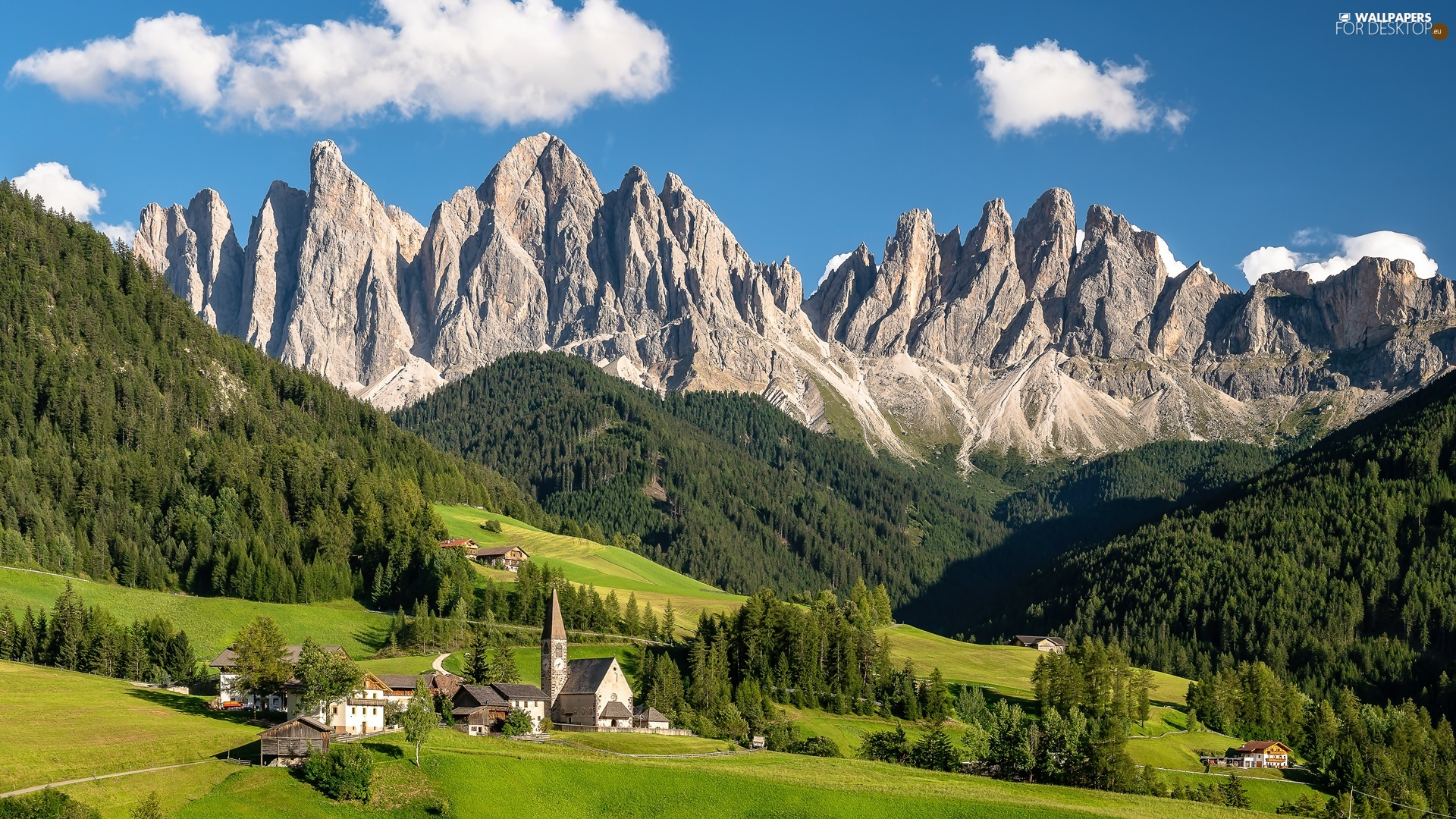 viewes, trees, Houses, Mountains, Santa Maddalena, Church, woods, Italy, clouds, Dolomites, country, Val di Funes Valley
