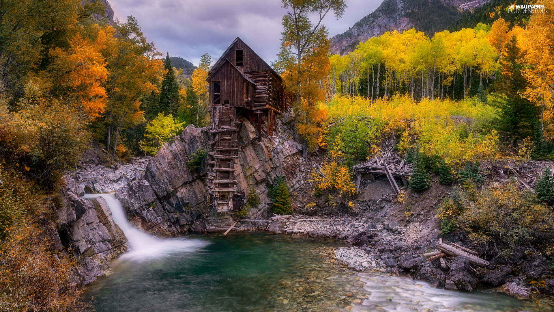 Crystal Mill, Windmill, Crystal River, autumn, Colorado, The United States, trees, viewes, rocks