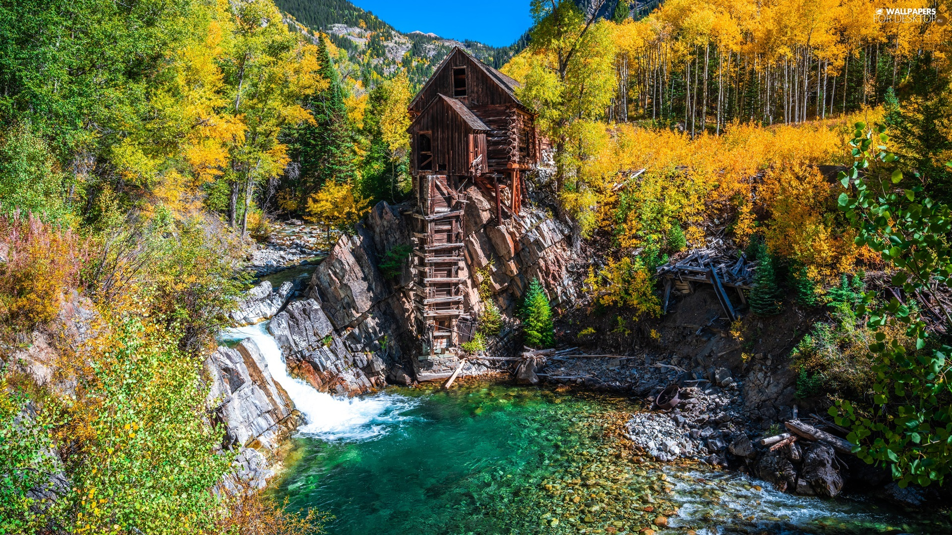 autumn, rocks, The United States, trees, Colorado, Crystal River, Crystal Mill, viewes