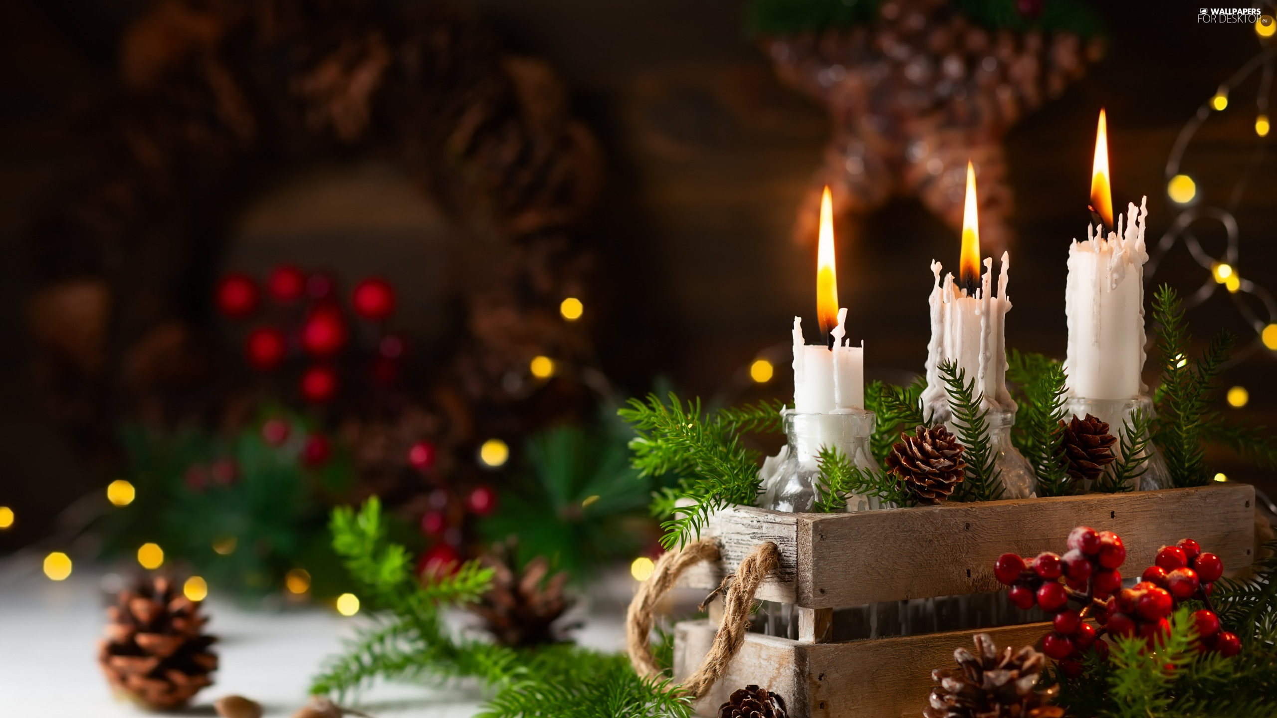 Twigs, candles, Christmas, decoration, cones, box