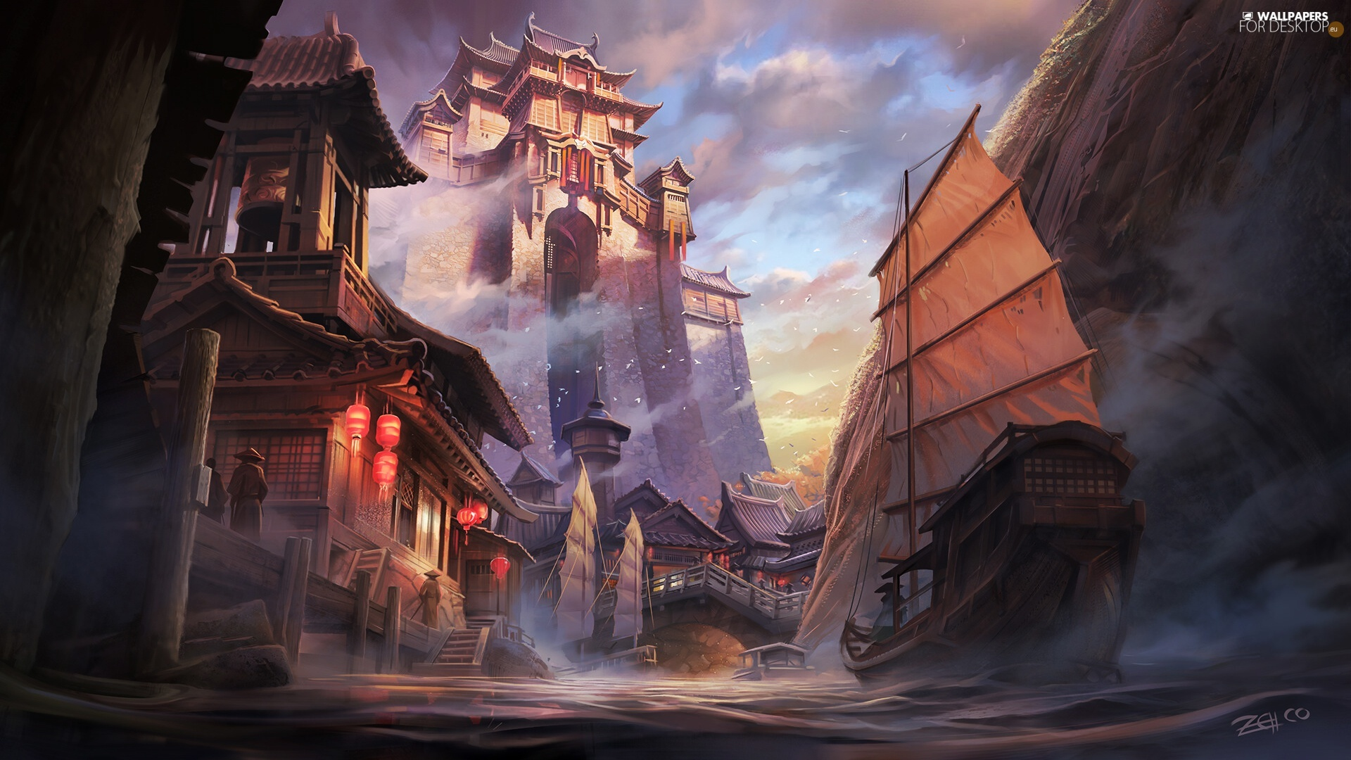 Houses, graphics, Sailboats, fantasy, River, Castle