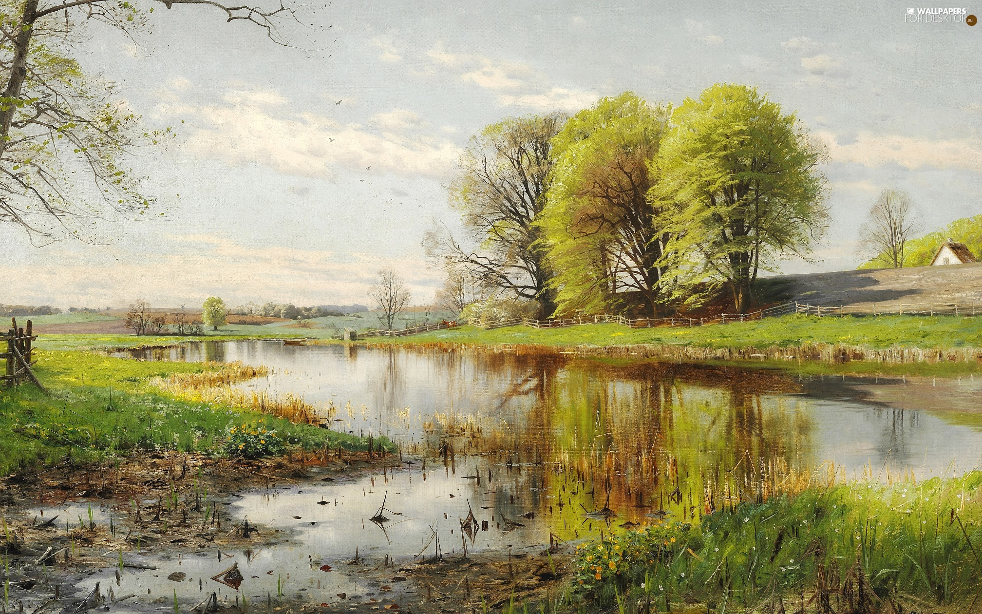 Flowers, country, trees, picture, landscape, Cow, viewes, house, Pond - car, Spring, Peder Mork Monsted, painting, Boat, fence