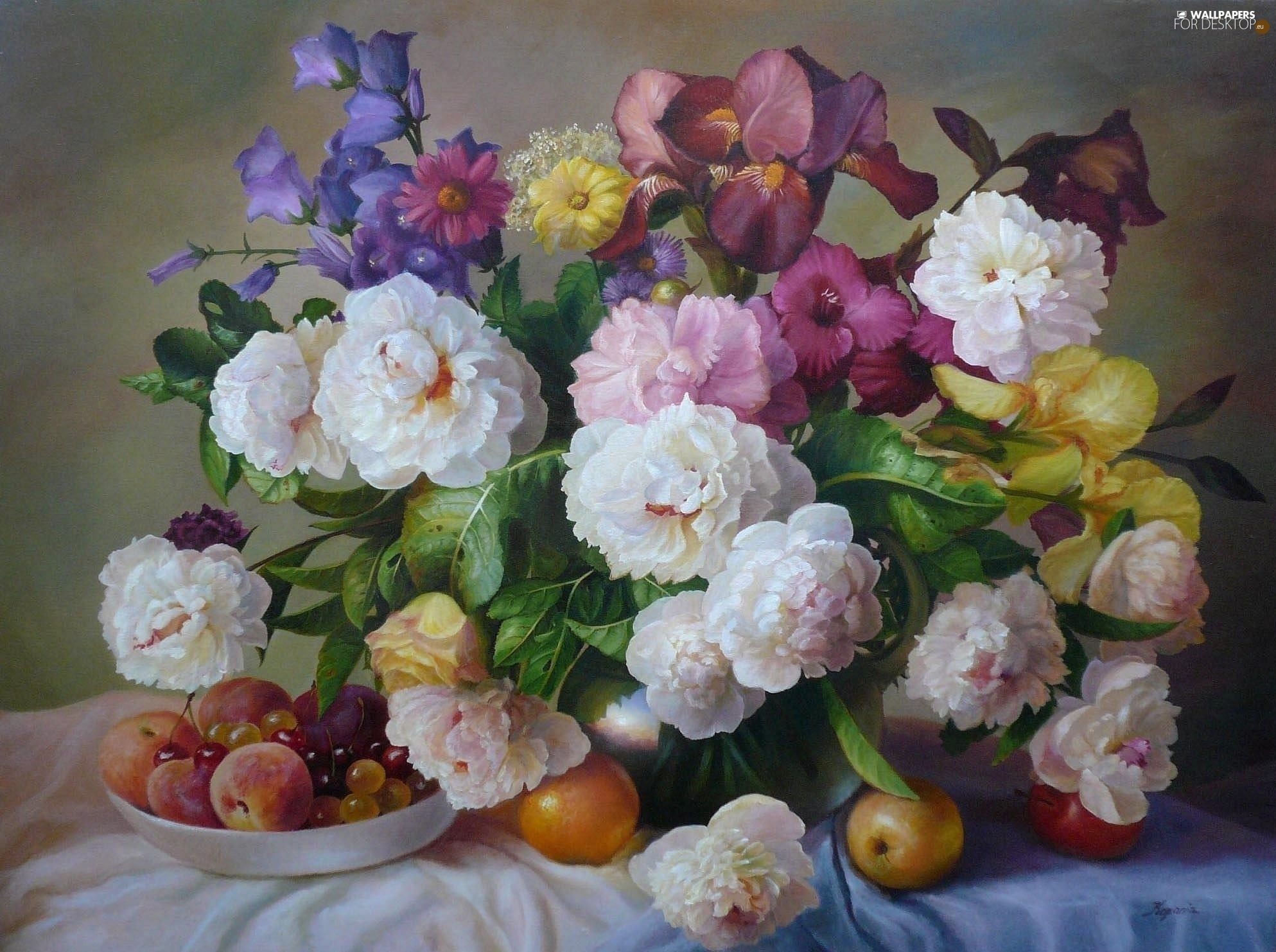 picture, Zbigniew Kopania, Peonies, Fruits, Bouquet of Flowers