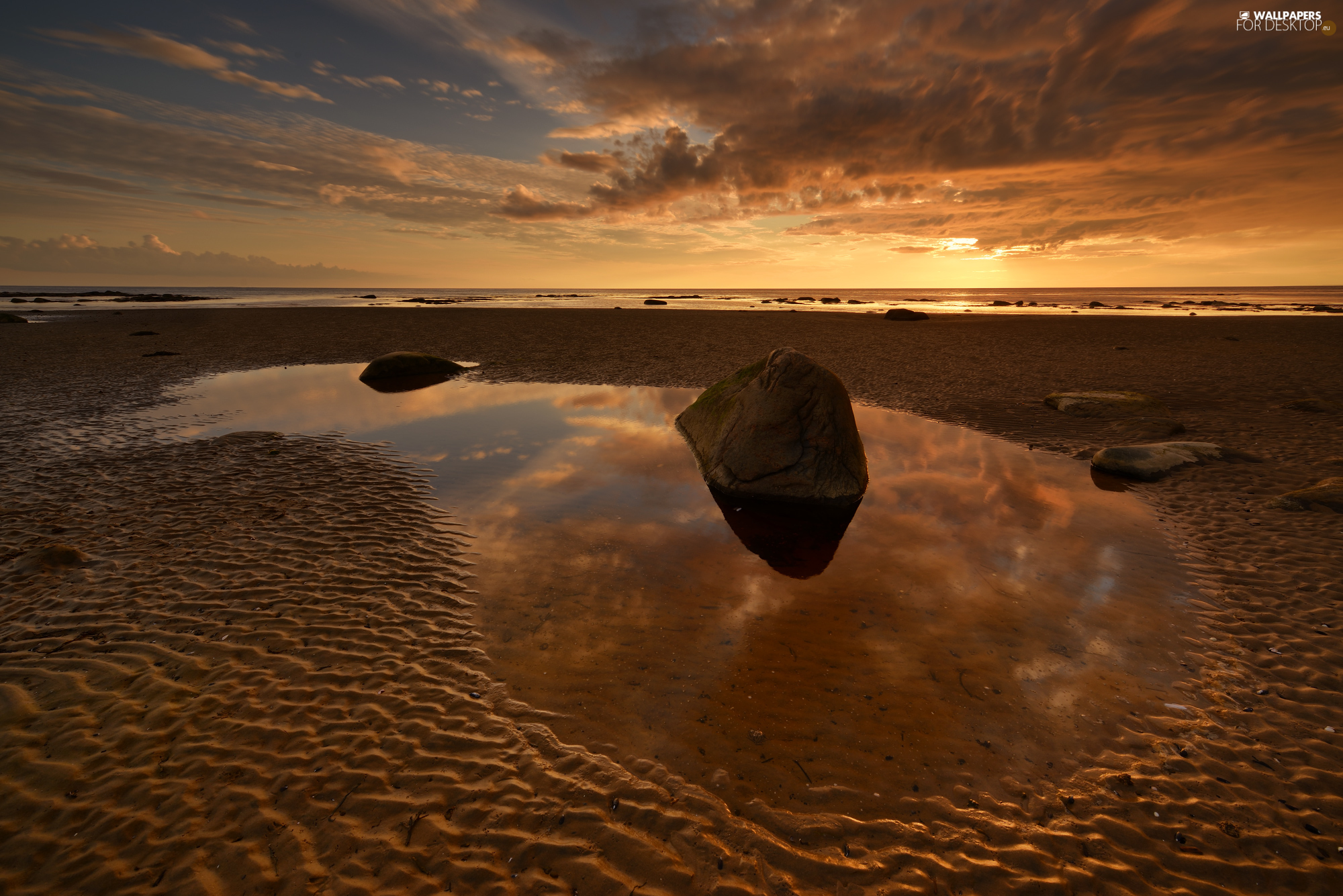 Beaches, sea, puddle, Great Sunsets, Stones, coast