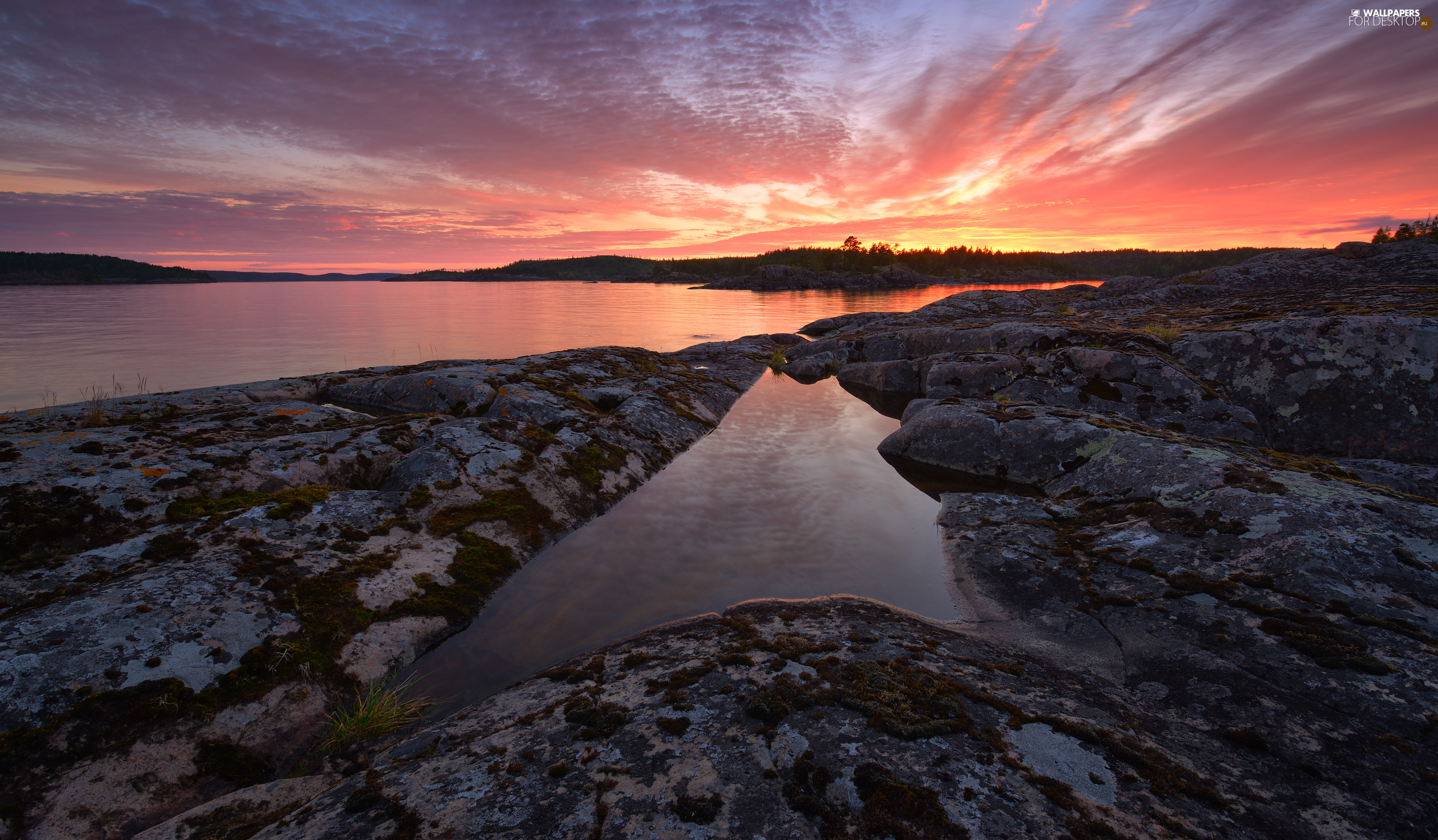 rocks, Russia, trees, viewes, Great Sunsets, Lake Ladoga