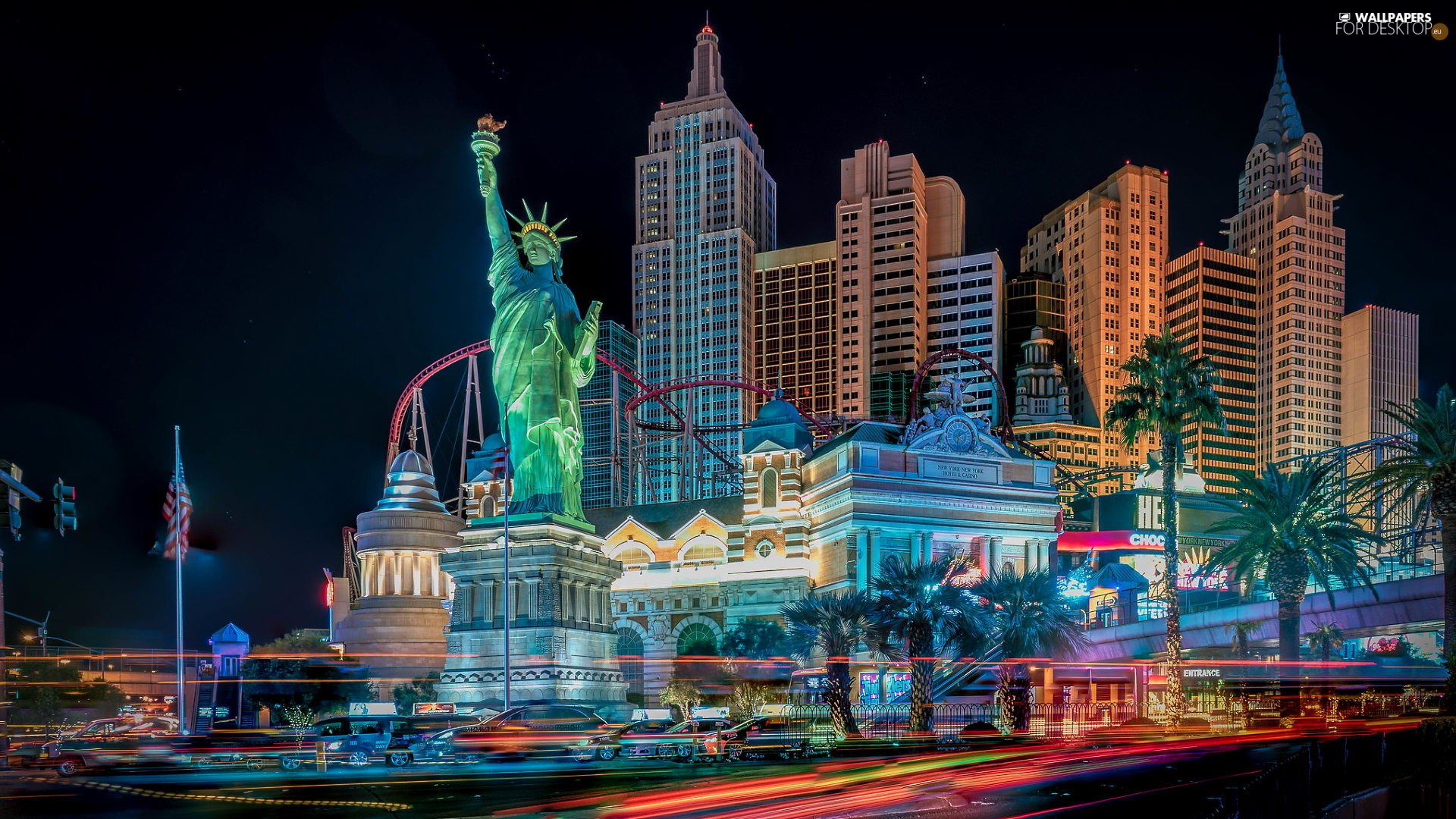 Night, skyscrapers, Nevada, The United States, Las Vegas, Statue of Liberty