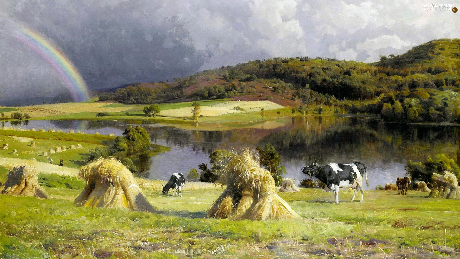 picture, painting, Peder Mork Monsted, Great Rainbows, Cows, The Hills, country, pasture, River