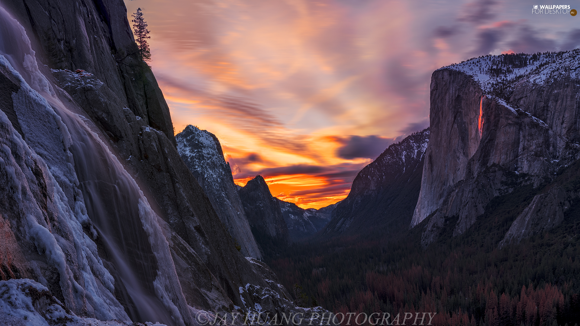 forest, Yosemite National Park, State of California, The United States, Great Sunsets, Mountains