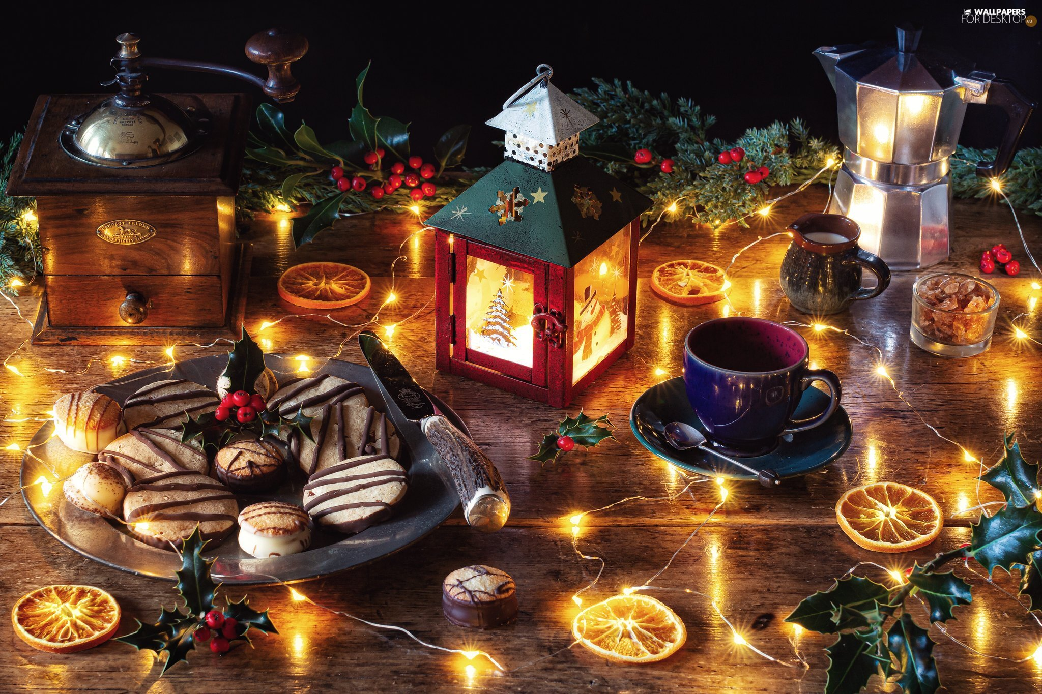 cookies, lantern, Coffee Percolator, lights, cup, mill
