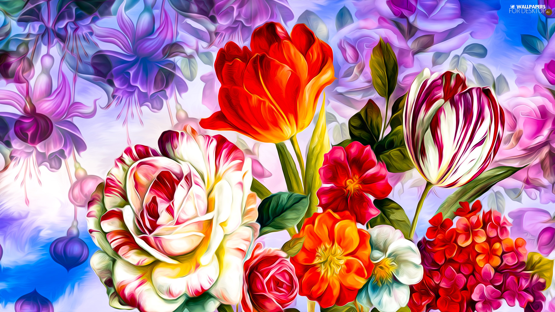 Flowers, Tulips, graphics, rose