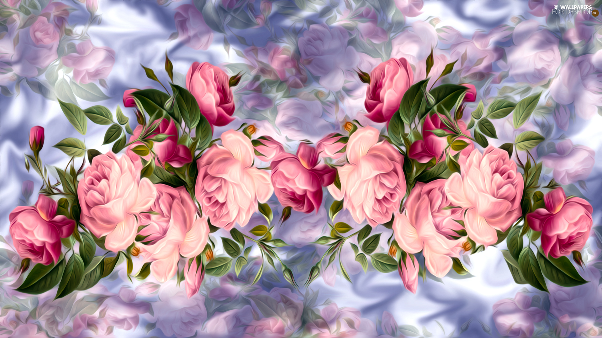 Flowers, Pink, graphics, roses
