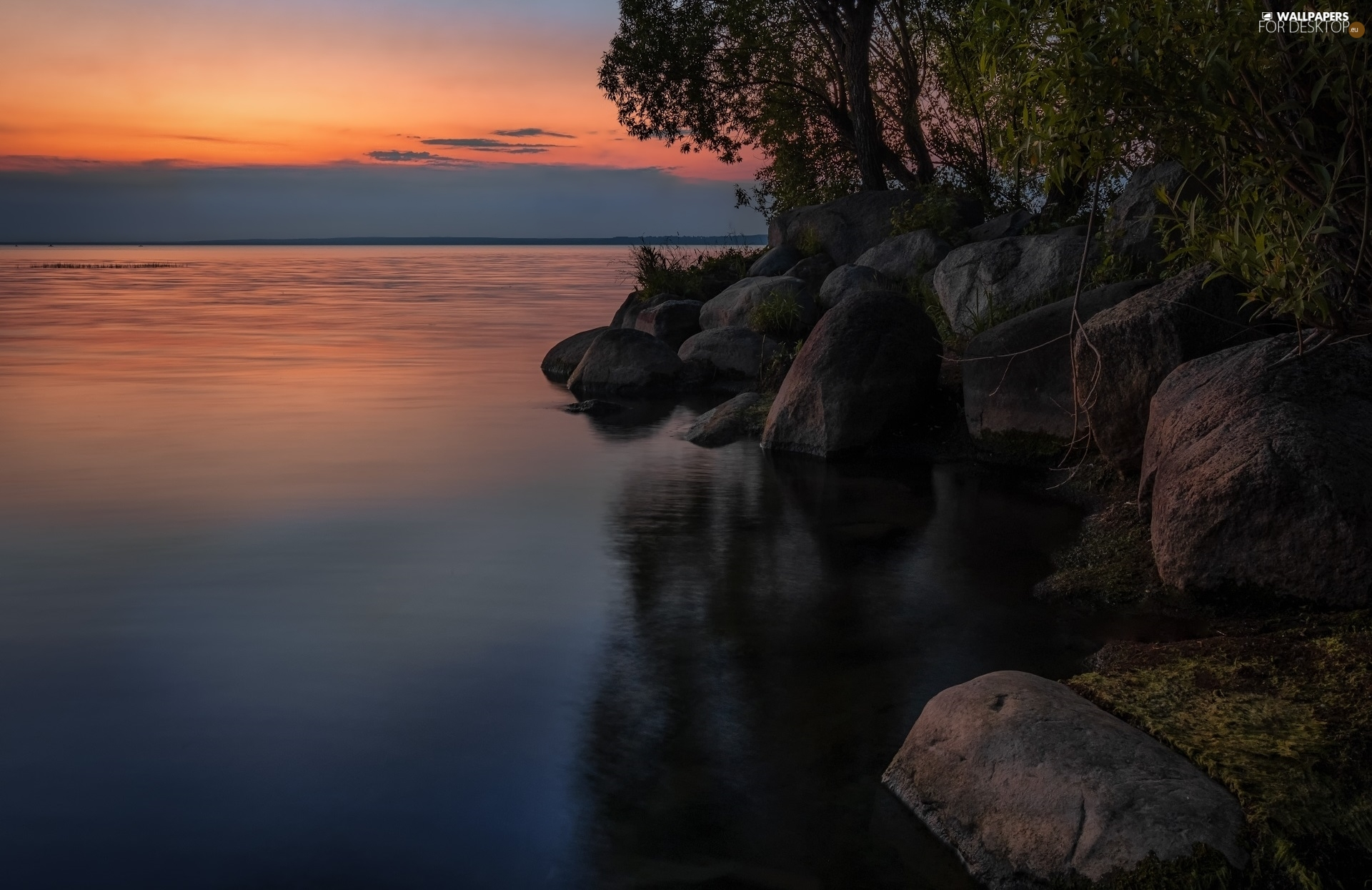 viewes, Great Sunsets, Stones, trees, lake
