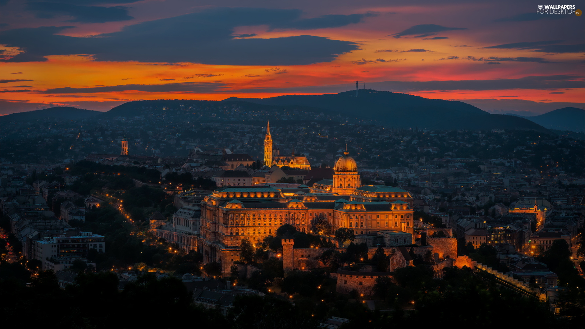 The Royal Castle, Great Sunsets, Budapest, Hungary, The Hills, Floodlit