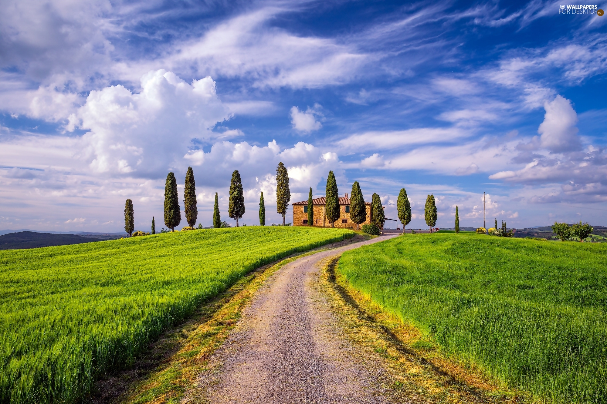 The Hills, Way, clouds, house, grass, Tuscany, Italy, cypresses