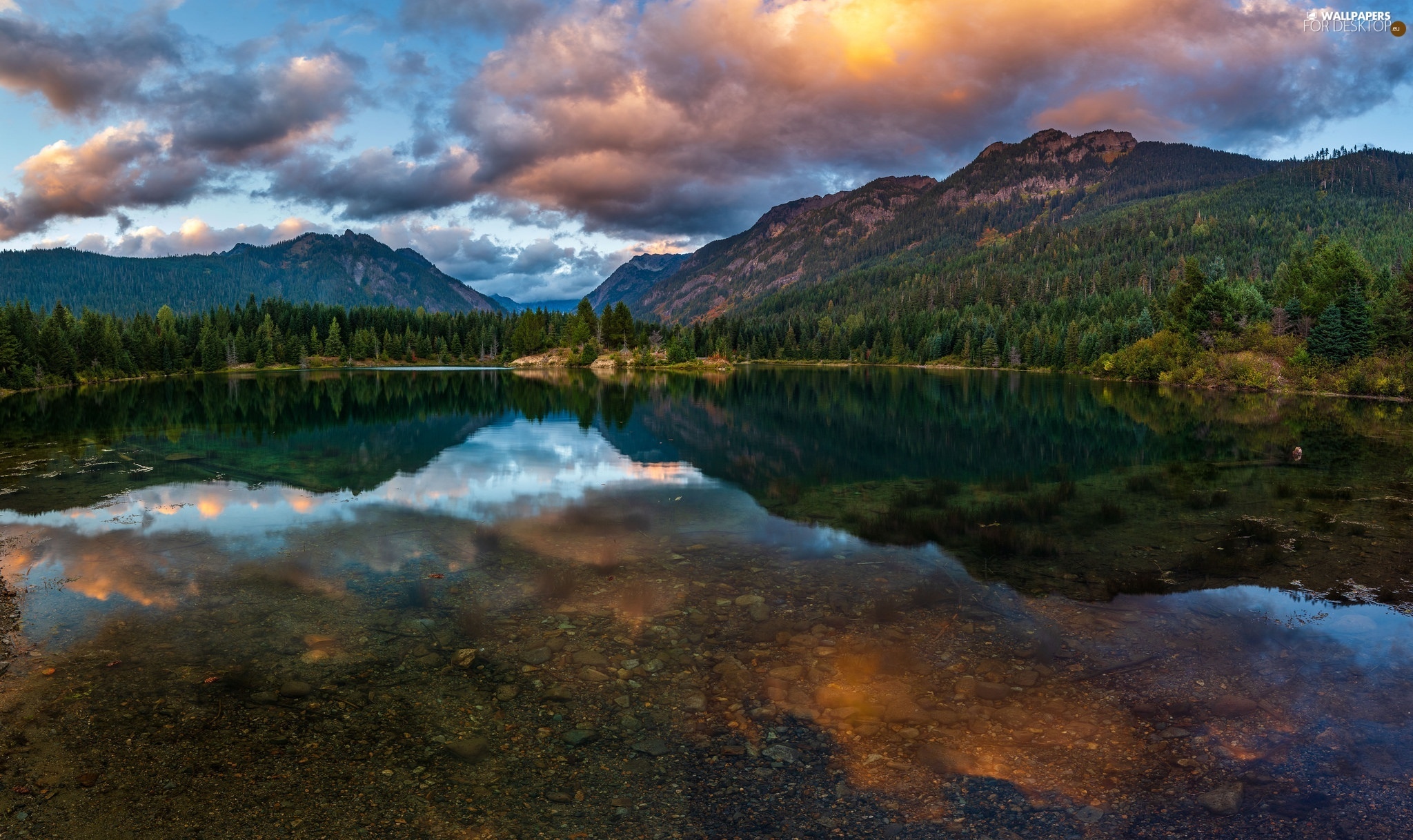viewes, lake, clouds, trees, Mountains, forest, reflection