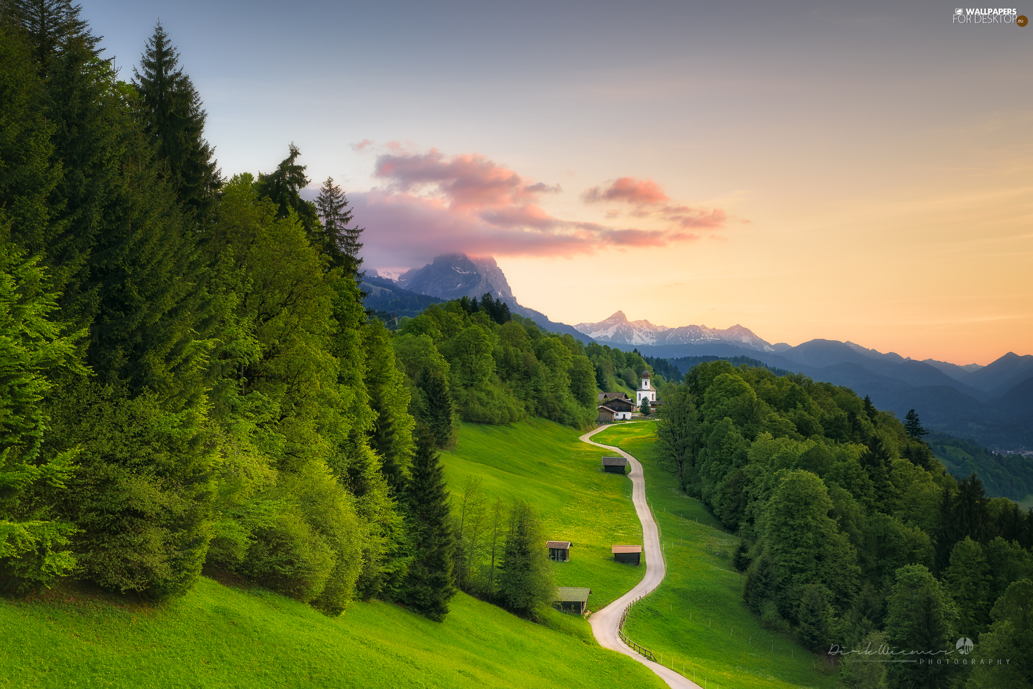 Mountains, Wamberg Village, The Hills, Way, Bavaria, Germany, trees, viewes, Church of Sts. Anna