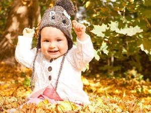 autumn, Leaf, joy, Hat, Kid