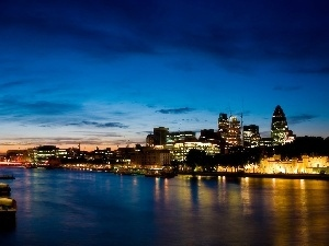 London, thames, Barges, night