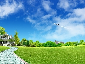 grass, plane, Bench, house, Pavement, clouds