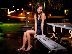 Bench, Women, pendant, make-up, Night, Park