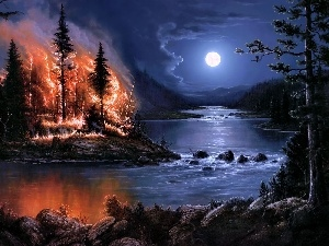 Big Fire, moon, forest, River, Night