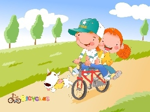 Bike, Kids, dog