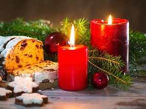cakes, Red, Christmas, composition, baubles, Candles