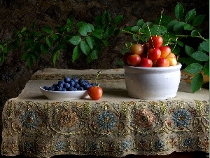 Table, cherries, blueberries, tablecloth