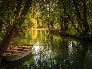 River, viewes, Boat, trees
