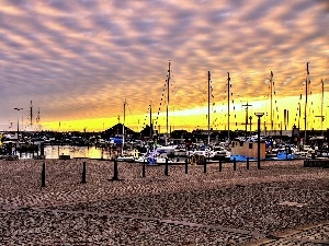 dawn, Harbour, Boats, clouds