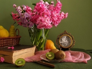 Books, Hyacinths, Fruits